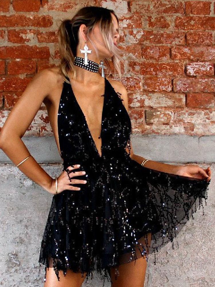 Sexy Mini Dress Sleeveless Backless Plunging Neck Sequins Fringe Light Gold Summer Dress