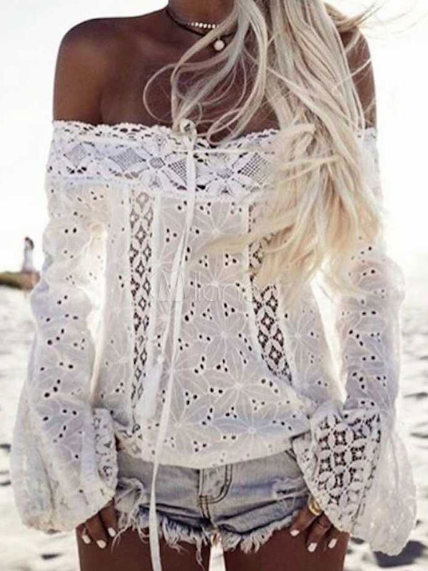 White Lace Blouses Long Sleeve Off The Shoulder Boho Top