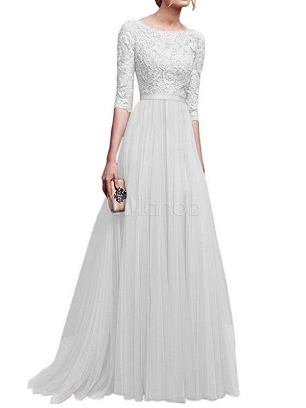 White Party Dress Chiffon Maxi Dress Half Sleeve Lace Round Neck Long Dress