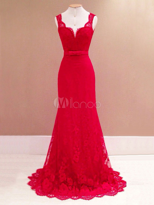 Buy Red Party Dress Sexy Maxi Dress Lace Sleeveless V Neck Backless Evening Dress for $38.69 in Milanoo store