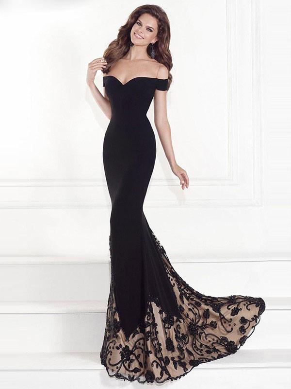 6423072cef2 Black Maxi Dress Lace Off The Shoulder Short Sleeve Long Dress Slim Fit  Prom Dress- ...