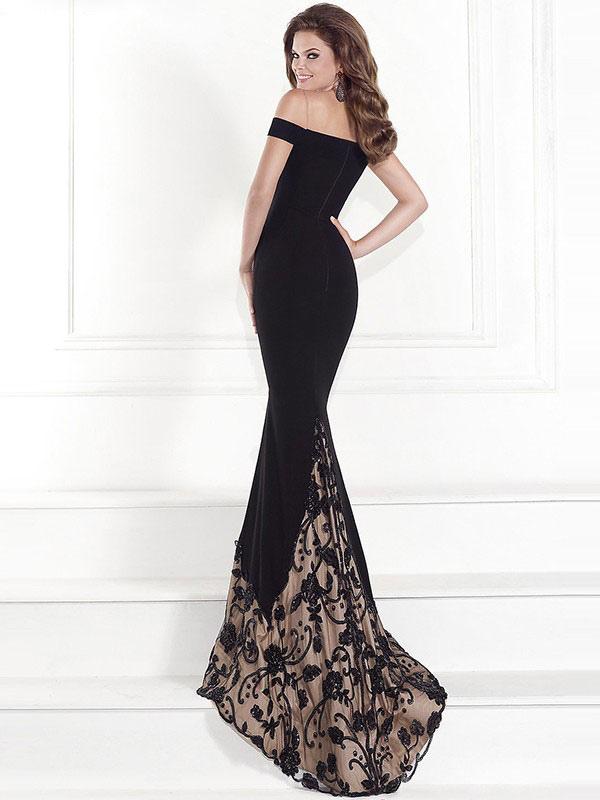 65989baf3de ... Black Maxi Dress Lace Off The Shoulder Short Sleeve Long Dress Slim Fit  Prom Dress- ...