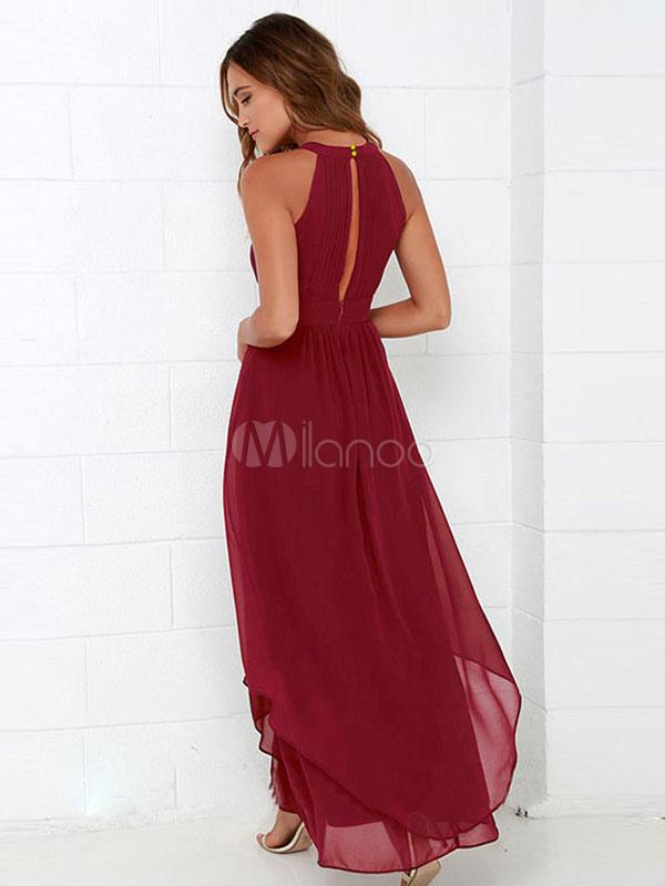 0cb5be2a29a4 Vestito lungo in chiffon smanicato con scollo tondo monocolore scollato  sulla schieno forato -No.