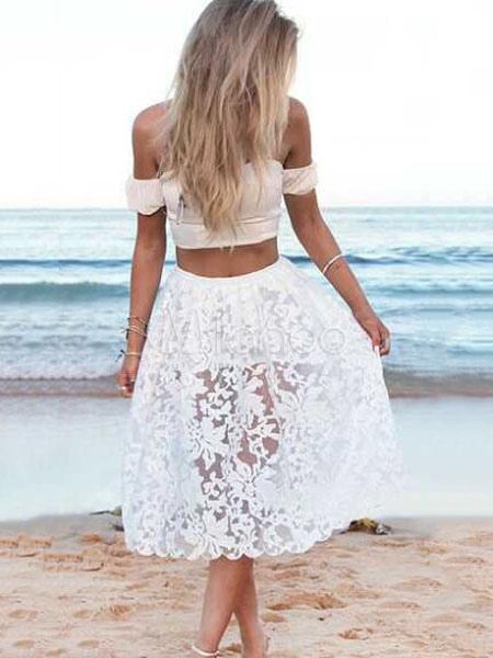 888ecd085 Conjunto de dos piezas de encaje blanco para mujeres 2019 Boho Hombro  abierto Top de verano con falda larga