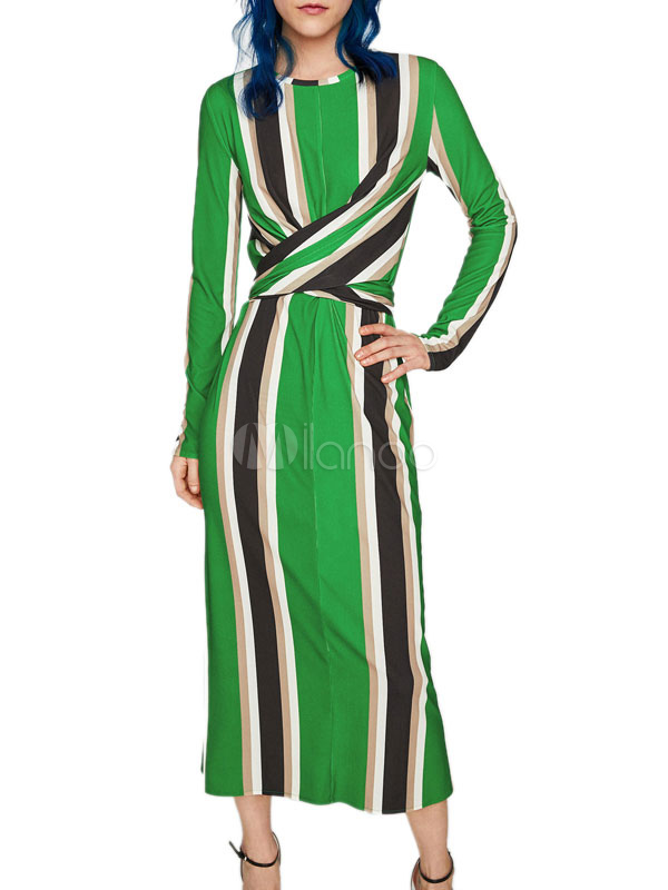 Buy Long Sleeve Maxi Dress Women Vertical Striped Green Crewneck Spring Dress for $37.99 in Milanoo store