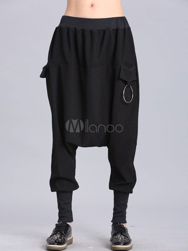 ff75c87a28ba8 Women Harem Pants Metal Details Drop Crotch Pants Black Jogger Pants-No.1  ...