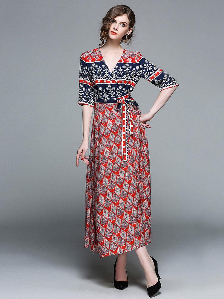 f622270a4 فستان صيفي طويل نصف كم سادة V مبطن طباعة تشكيل فستان شيفون - Milanoo.com