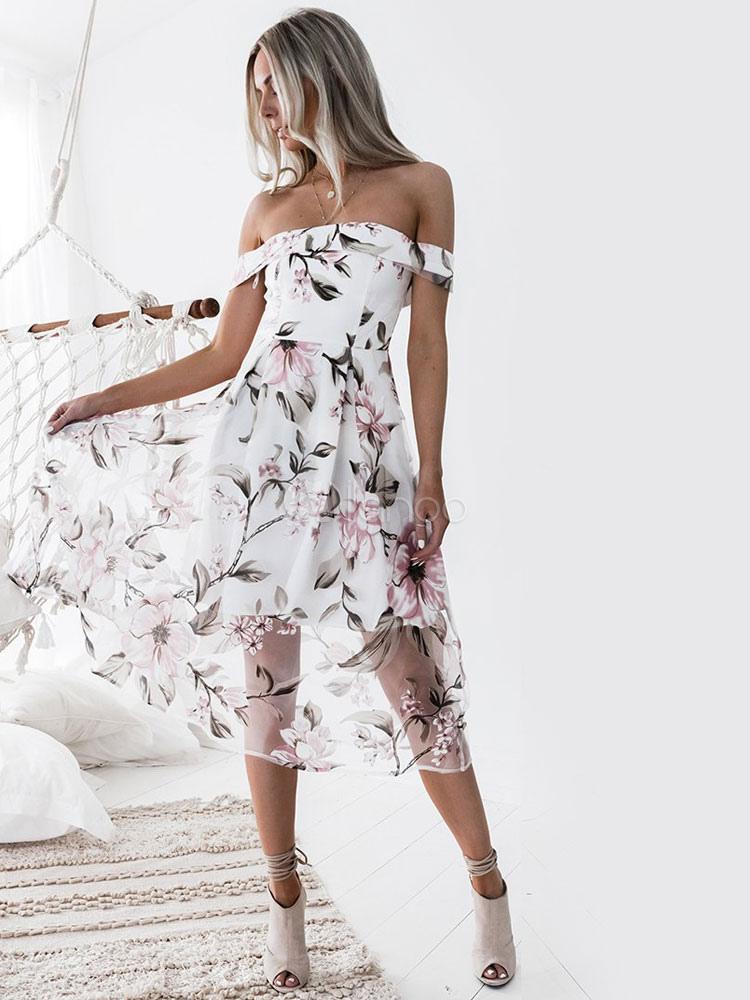 905a1f9206e Robe longue blanc Robe d été 2019 Hors de l épaule Imprimé fleuri Organza  ...