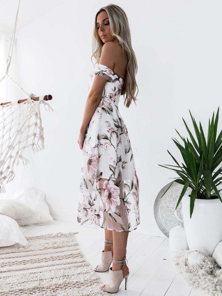 ... Robe longue blanc Robe d'été 2018 Hors de l'épaule Imprimé fleuri  Organza ...
