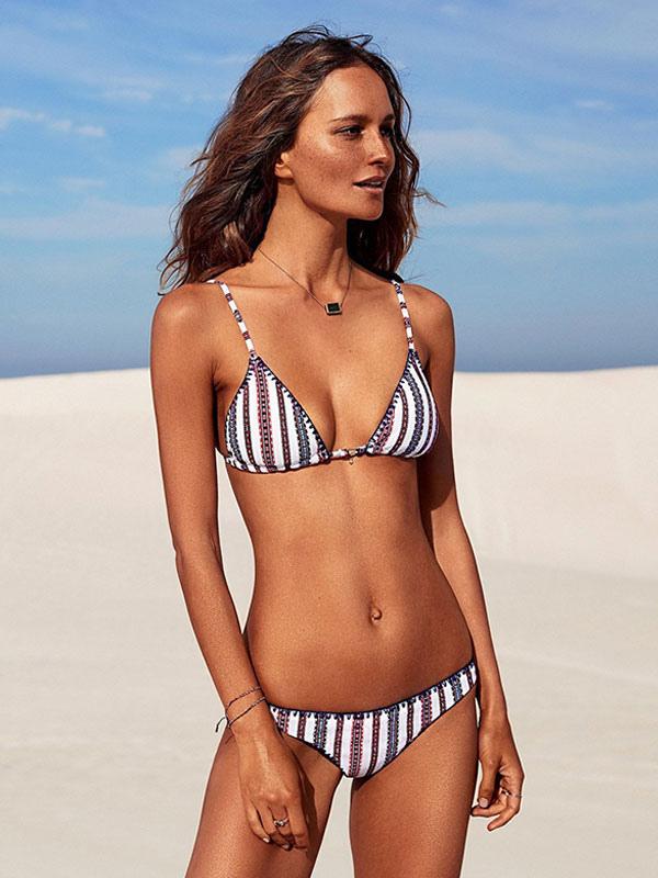 Sexy Bikini Swimsuit White Straps Striped Two Piece Bathing Suit