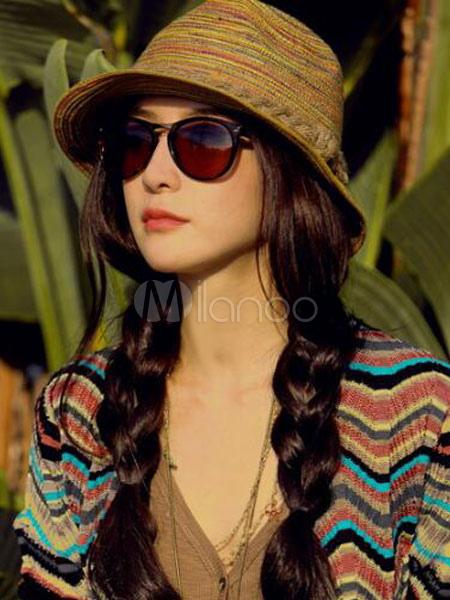 Women Sun Hat Striped Summer Beach Straw Hat