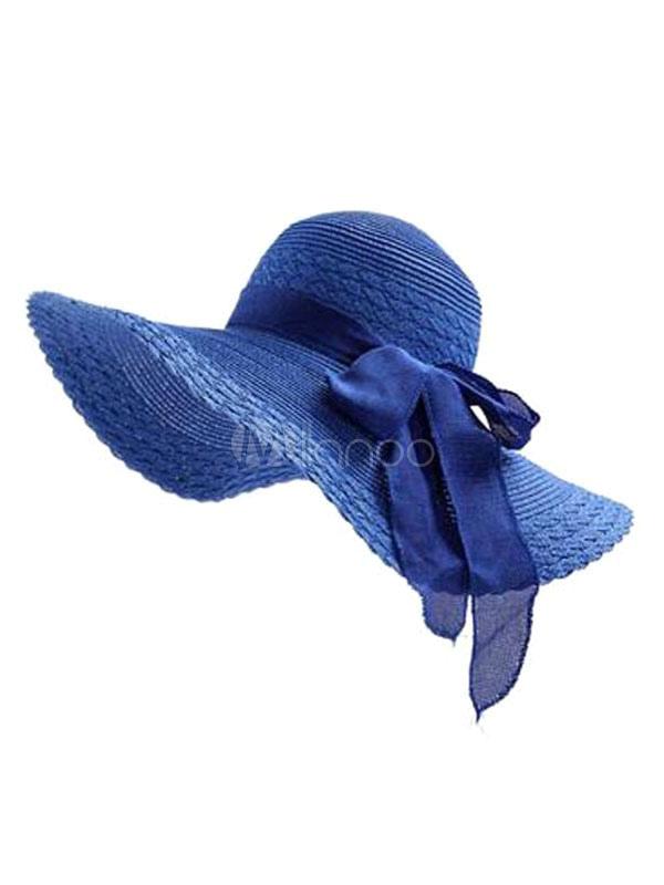 Women Sun Hat Bows Royal Blue Beach Straw Hat