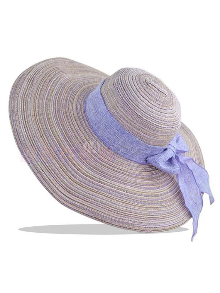 Women Sun Hat Bow Band Casual Straw Hat