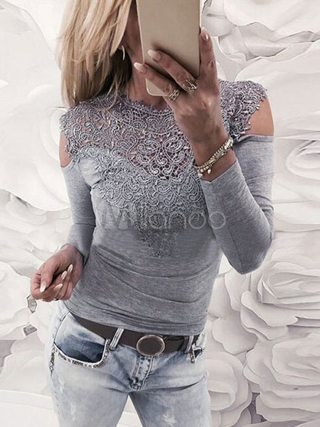 Women T Shirt Long Sleeve Cold Shoulder Cut Out Lace Shaping Grey Top