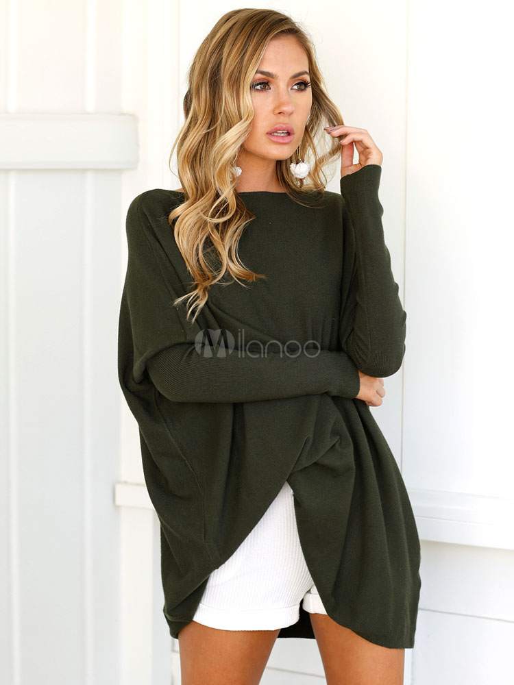Oversized Women Sweater Long Sleeve Hunter Green Pullover Top