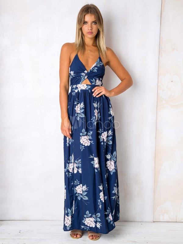 Long Summer Dress Halter Floral Print Cut Out Split Backless Blue Maxi Dress