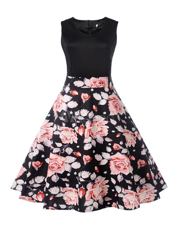 Buy Black Summer Dress Printed Vintage Dress Sleeveless Round Neck Midi Dress for $20.39 in Milanoo store