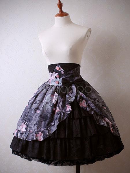 Chinese Style Lolita Skirt Chiffon Print Bow Ruffle Lace Trim Black Lolita Skirt