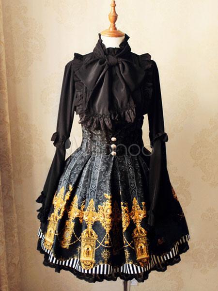 Gothic Lolita SK Lace Trim Print Button Ruffle Pleated Black Lolita Skirt