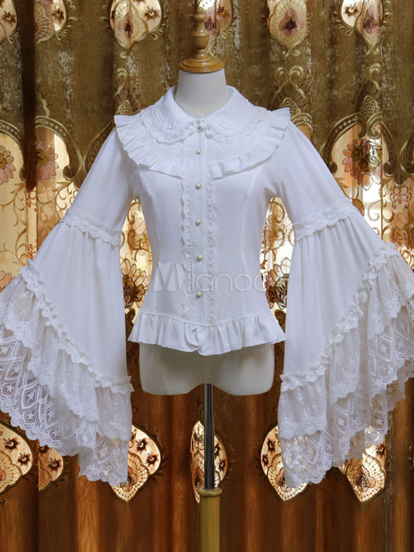 Rococo Lolita Blouse Lace Trim Chiffon Layered Ruffle White Lolita Shirt