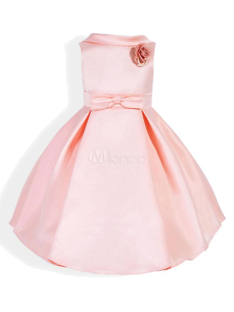 Vestidos de niña de las flores rosa satinado una línea de vestido ...
