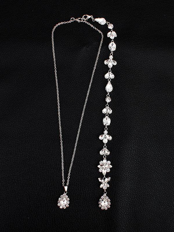 Wedding Necklace Silver Backdrop Necklace Rhinestone Beaded Bridal Jewelry