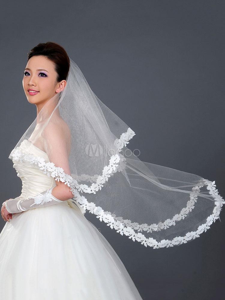 Wedding Veil Lace Trim One Tier Tulle Long Bridal Veils