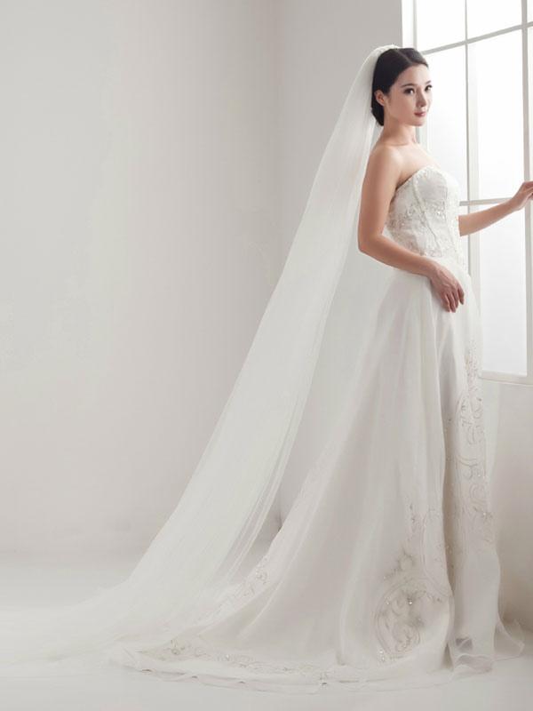 a3ad19d5d ... Véu de noiva 2019 Catedral Véu de noiva com 3 camadas de borda de tule  branco ...