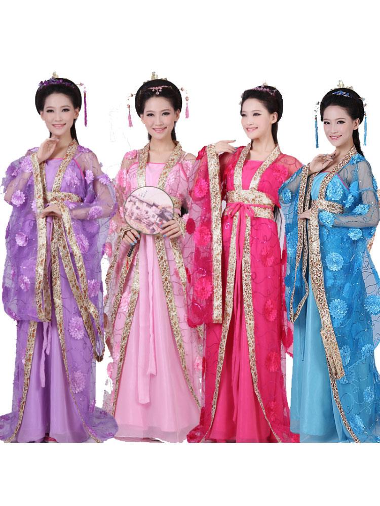 choisir véritable éclatant couleur attrayante Costume chinois traditionnel femme Tulle Hanfu robe ancienne dynastie Tang  vêtements 3 pièces