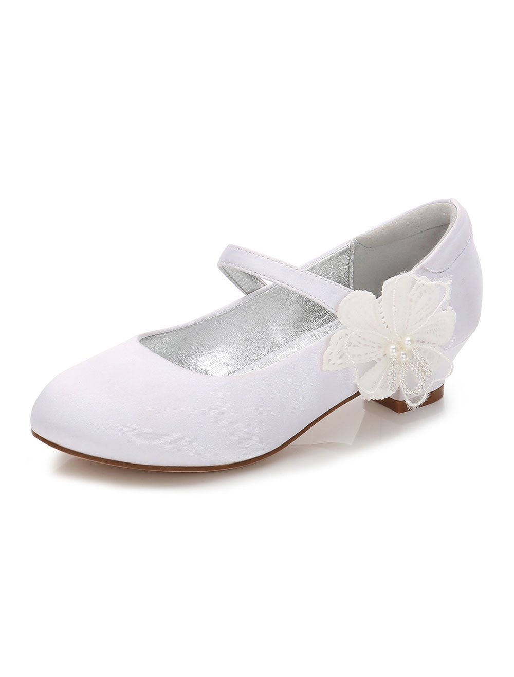 Wedding Flower Girl Shoes White Round Toe Flowers Detail Party Shoes Satin Girl Shoes