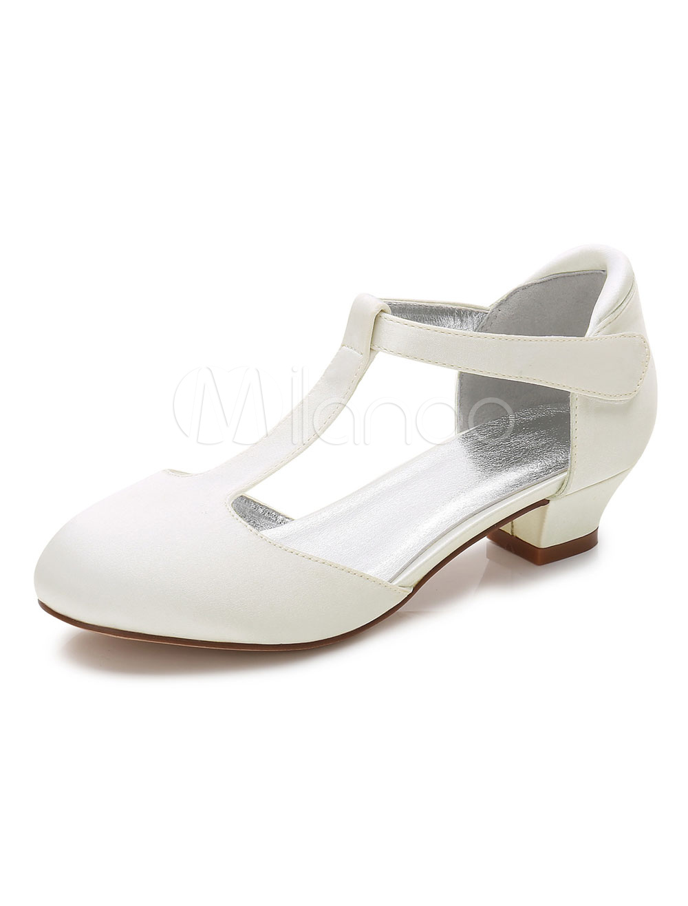 Ivory Wedding Flower Girl Shoes Satin Round Toe T Type Girl Shoes Party Shoes