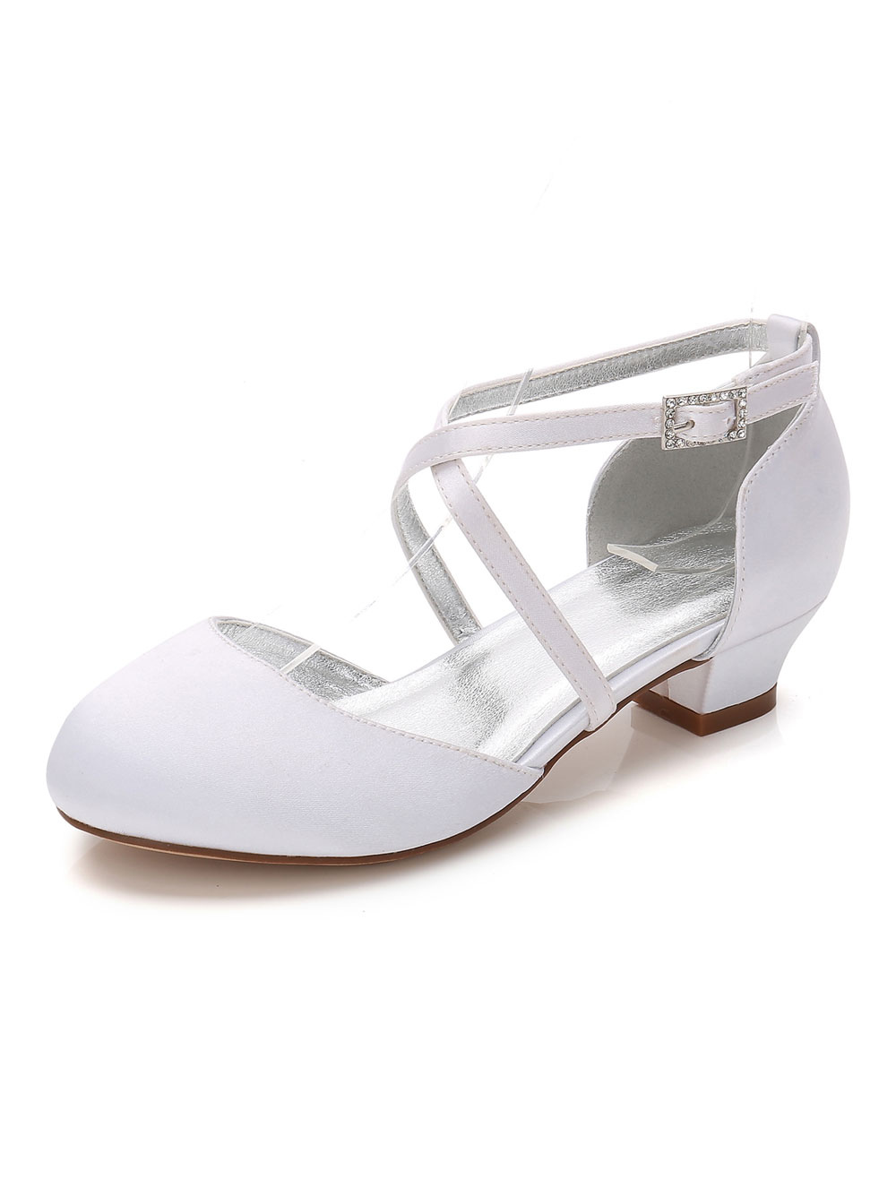 White Party Shoes Satin Wedding Flower Girl Shoes Round Toe Criss Cross Girl Shoes