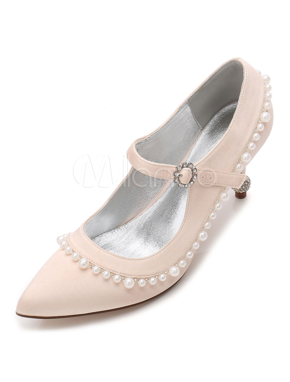 Champagne Bridesmaid Shoes Satin Pointed Toe Pearls Wedding Shoes