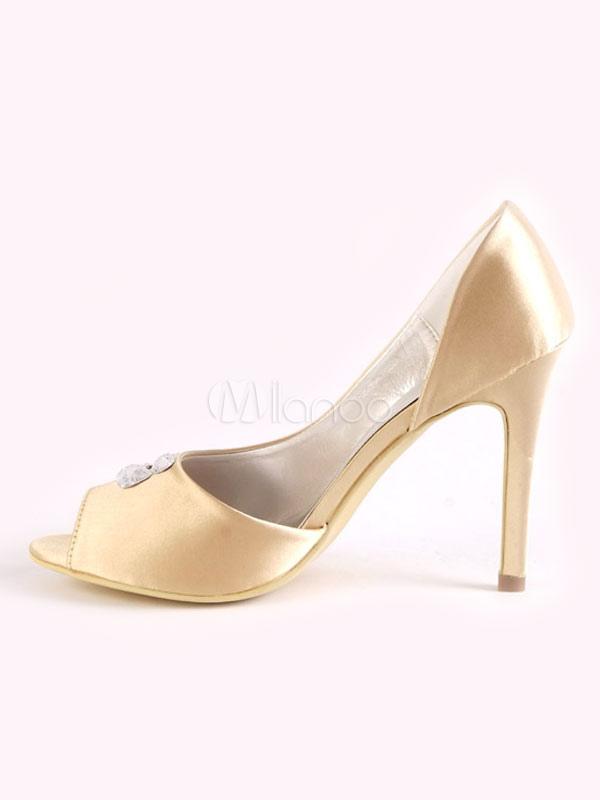 Zapatos de punter Peep Toe de tacón de stiletto de satén con flor elegantes Fiesta de bodas TKqDU4EW