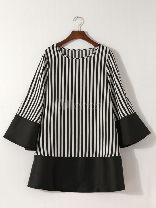 Buy Black Shift Dress Striped Long Sleeve Round Neck Mini Dress for $28.49 in Milanoo store