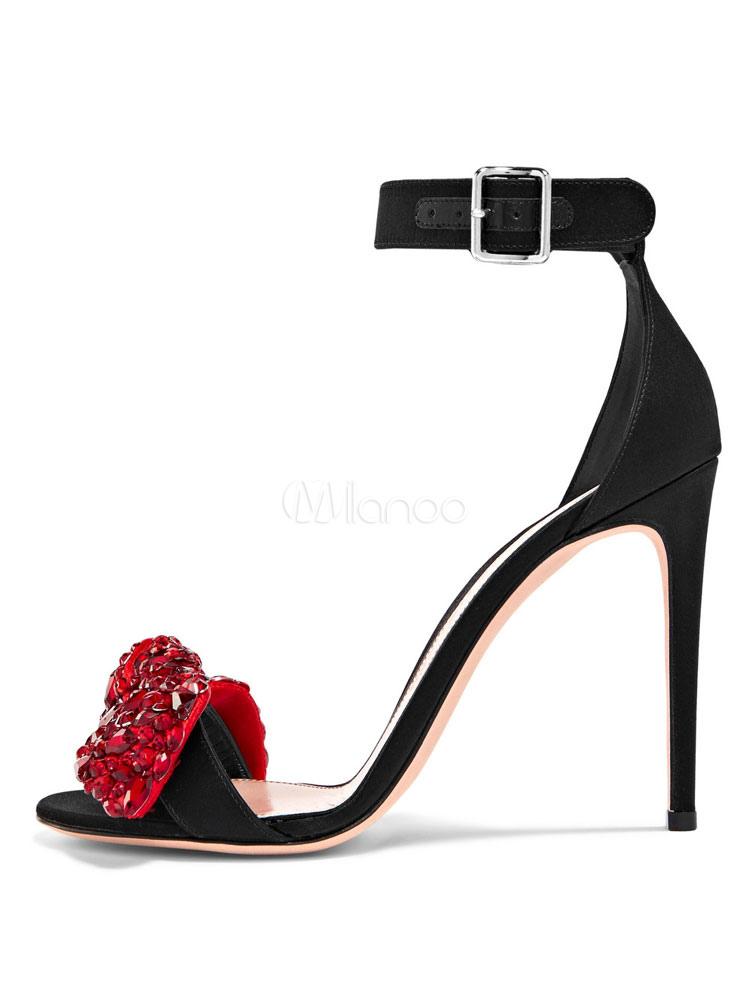 2a2ce427c ... High Heel Sandals Women Evening Shoes Black Open Toe Rhinestones Ankle  Strap Sandal Shoes-No ...