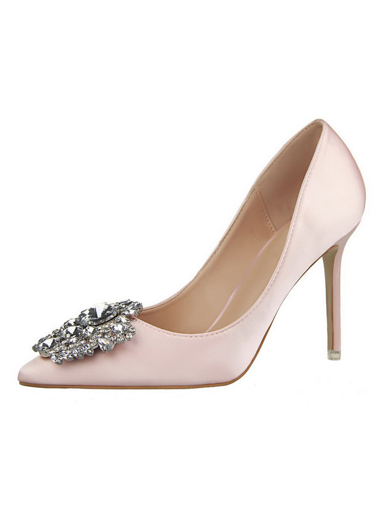 Pink High Heels Satin Pointed Toe