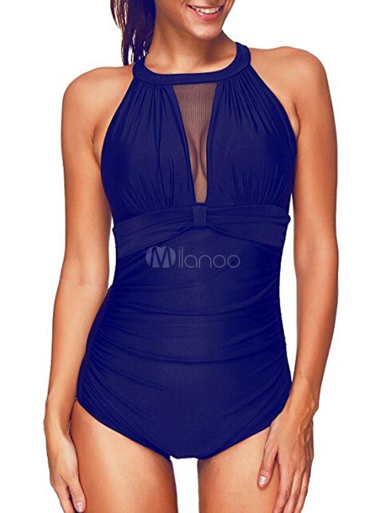 3276002afd One Piece Swimsuit Women Blue Illusion Beach Bathing Suit - Milanoo.com
