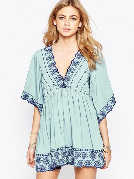 Buy Women Mini Dress Summer Shift Dress Half Sleeve Embroidered V Neck Light Green Tunic Dress for $28.49 in Milanoo store