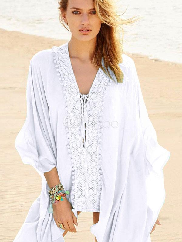 Buy White Cover Up Boho V Neck Three Quarter Sleeve Beachwear For Women for $21.24 in Milanoo store
