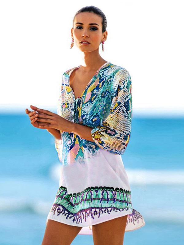 Women Summer Dress V Neck Printed Three Quarter Sleeve Green Beachwear