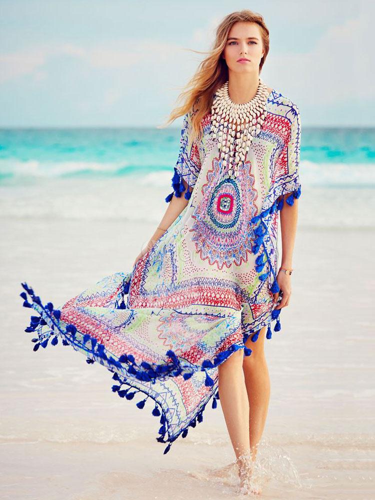 Plus Size Cover Ups Dress Women Tassel Printed Half Sleeve V Neck Beach Bathing Suit