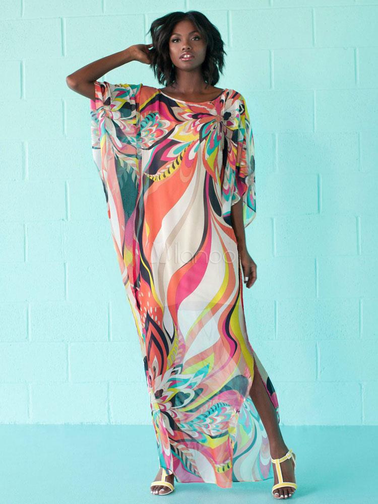 Women Cover Up Printed Split Multi Color Three Quarter Sleeve Beach Dress