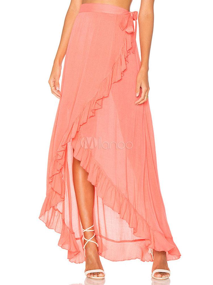 Women Long Skirt Ruffles High Low Orange Summer Skirt