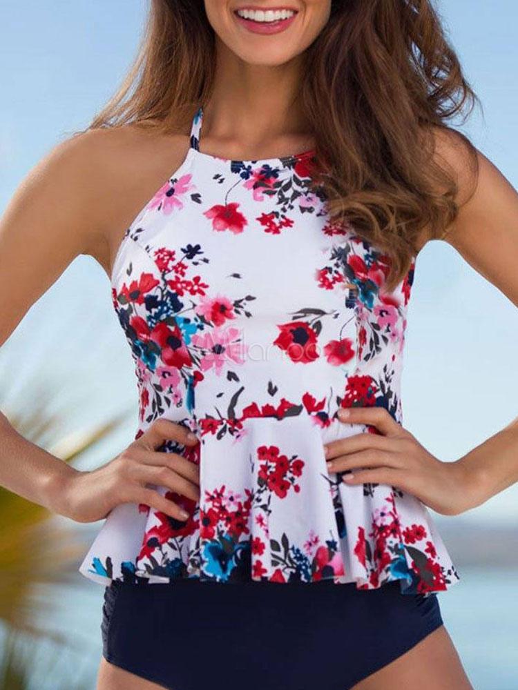 dd28f7f40b3 Women White Swimsuit Straps Floral Print Peplum Two Piece Bathing Suit-No.1  ...