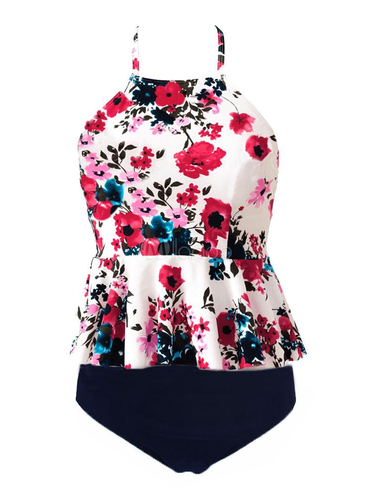bd68de219c5 ... Women White Swimsuit Straps Floral Print Peplum Two Piece Bathing Suit -No.2 ...