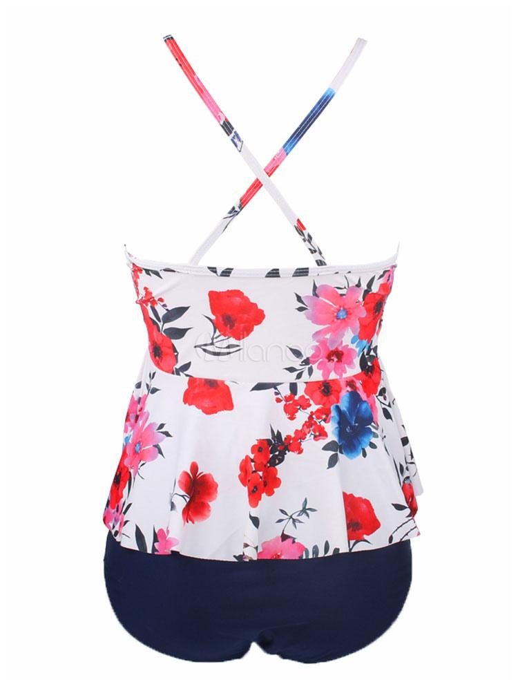 cbdf039bfc9 ... Women White Swimsuit Straps Floral Print Peplum Two Piece Bathing Suit -No.3
