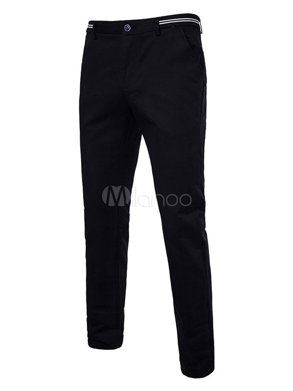 Buy Straight Leg Pant Solid Color Tapered Pant Cotton Casual Pant For Men for $29.69 in Milanoo store