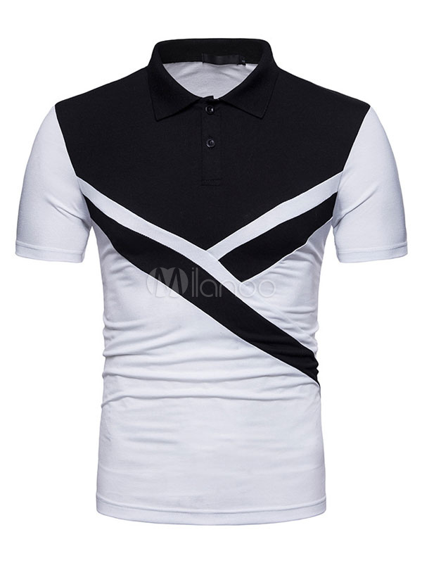 Polo Shirt Men Color Block Summer Top Short Sleeve T Shirt Casual