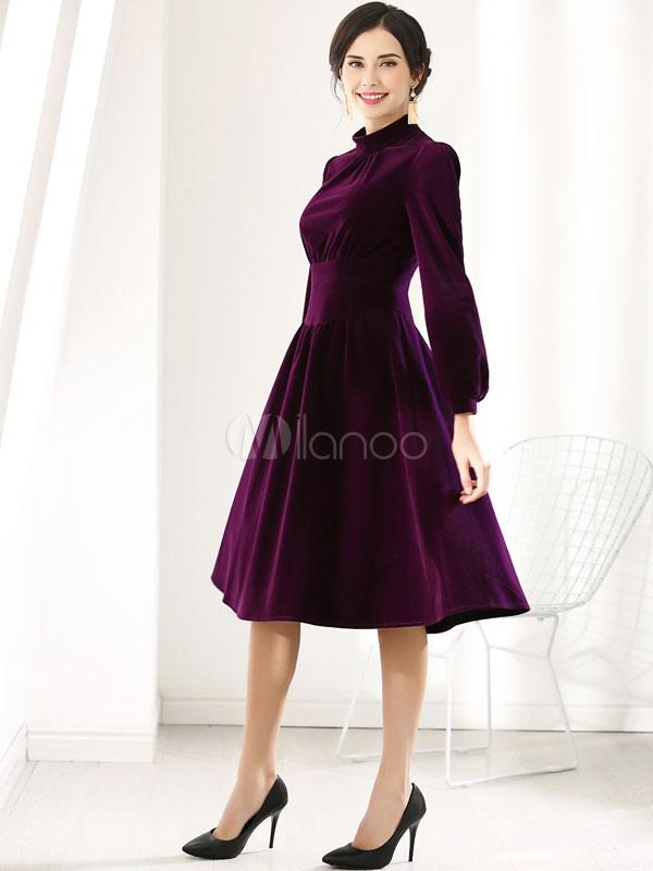 76da2af168e6 ... Vintage Party Dress Long Sleeve Velour High Collar Deep Purple Midi  Dress-No.2 ...